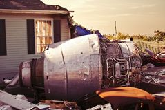 Jet plane crash site 3 of 3. Destruction caused in a neigborhood by a plane crash Stock Photo