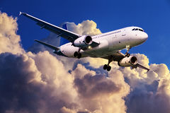 Jet plane in flight Royalty Free Stock Photo