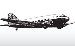 Jet plane in flight. Illustration of passenger jet aircraft in flight with white background stock illustration