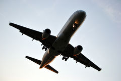 Jet plane, flying. Plane with jet engine flying Royalty Free Stock Images