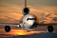 Jet plane, flying. Plane with jet engine flying Royalty Free Stock Image