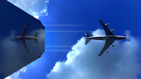 Jet plane flying low over commercial office building skyscraper Stock Image