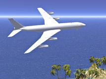 Jet plane flying to vacation Stock Photography