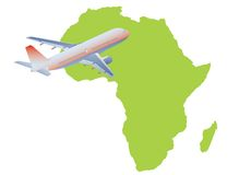 Jet plane flying up with africa map Stock Photos