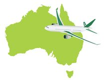 Jet plane flying up with australia map Royalty Free Stock Photography