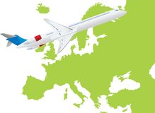 Jet plane flying up with europe map Royalty Free Stock Photo