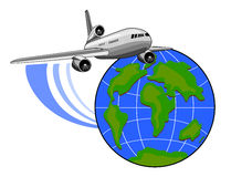 Jet plane flying up with globe Stock Photos