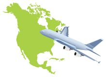 Jet plane flying up with nord america map Stock Images
