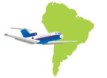 Jet plane flying up with south america map Stock Photos