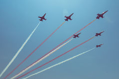 Jet plane formation Royalty Free Stock Photo