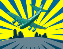 Jet plane landing. Etro style vector art of a jetplane landing with skyscrapers vector illustration