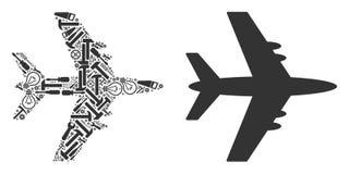 Jet Plane Mosaic of Service Tools vector illustration
