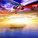Jet plane over the sea Stock Image
