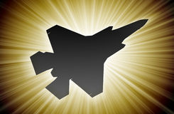 Jet plane silhouette, modern fighter in the sky. (starburst Royalty Free Stock Photography