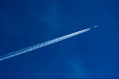 Jet plane in the sky stock photo