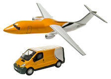 Jet plane and van. Three-dimensional renderings of a jet plane and a van on a white background Stock Photos