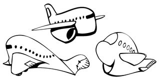 Jet planes. Funny cartoon style jet planes Stock Photos