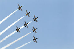 Jet planes contrail Royalty Free Stock Image