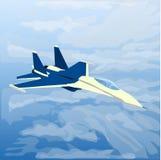 Jet plano reactivo con el piloto dentro en las nubes ilustración del vector
