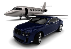 Jet privado con una limusina libre illustration
