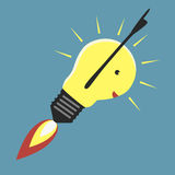 Jet-propelled lightbulb. In moment of insight, EPS 8 vector illustration Royalty Free Stock Photos