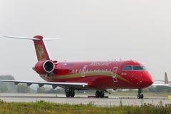 Jet régional CRJ-200 de Canadair de bombardier de lignes aériennes de Rusline Images libres de droits