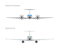 Jet and regional turboprop Royalty Free Stock Photography