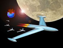 Jet rocket fleet convoy into space leaving burning earth. Photo of a jet rocket fleet convoy with boost thrusters flying past moon on the way to mars leaving royalty free stock photos