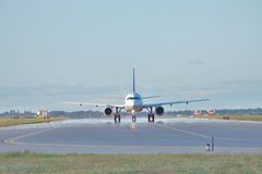 Jet on the runway Royalty Free Stock Photos