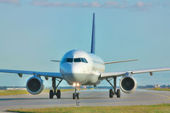 Jet on the runway Royalty Free Stock Photo