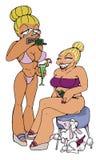 Jet set 01. Two jet set women with bikini vector illustration