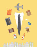Jet setting businessman  with icons Stock Images