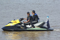 Jet ski. Used by race marshal to look after the efficiency of the race and the safety of the competitors during the Sarawak Regatta. Sarawak Regatta is an Stock Images