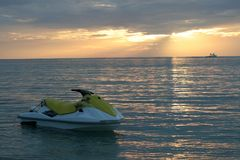Jet ski. Parked at the beach, sunset time Stock Image