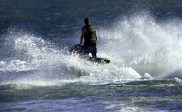 Jet ski. Moves through water stock photo