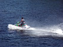 Jet Ski. A Jet-Skier on the Thousand Islands lake Stock Image