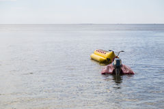 jet ski and banana boat floating on the sea Royalty Free Stock Photos