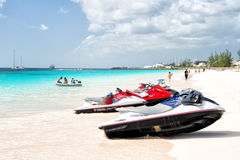 Jet ski on barbados beach Stock Images