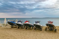 Jet ski at the beach in Sunny Beach on the Black Sea coast of Bulgaria. Blue bulgarian clouds coastline day horizontal no people nobody outdoor outside resort stock photos