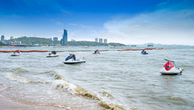 Jet ski,Beautiful beach,speedboat,white sand at Pattaya Beach the most famous beach in Thailand Stock Image