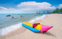 Jet ski,Beautiful beach,speedboat,white sand at Pattaya Beach the most famous beach in Thailand Stock Photos