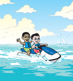 Jet Ski Boys. An illustration of two boys on the water riding a jet ski Royalty Free Stock Images