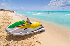 Jet ski on the Caribbean beach stock photography
