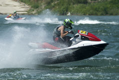 Jet Ski driver fly with boat Royalty Free Stock Image