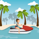 Jet ski girl riding beach Royalty Free Stock Images