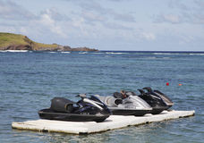 Jet ski at Grand Cul de Sac Bay at St. Barts Stock Photography