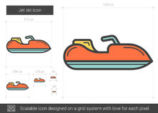 Jet ski line icon. Jet ski vector line icon isolated on white background. Jet ski line icon for infographic, website or app. Scalable icon designed on a grid vector illustration