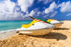 Jet ski for rent on the beach at Caribbean Sea. Mexico Royalty Free Stock Photo