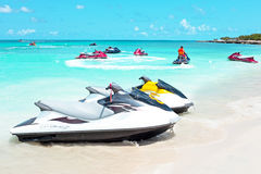 Jet ski`s in the caribbean sea on Aruba island Stock Image