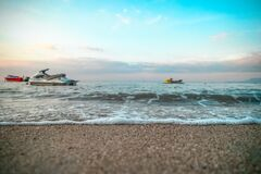 Jet ski on sandy beach Stock Photos